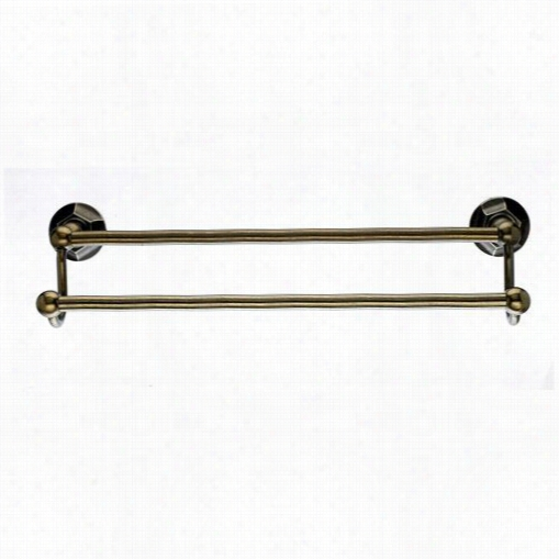 "Top Knobs E9gbzb Edwardian Bath 24""&quog; Twice  Towel Rod With Hex Backplate In Germa Bronze"