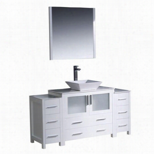 """Fresca Fvn62-123612wh=vsl Torino 60""""""""; Modern Bathroom Vanity In White With2 Side Cabinet S And Vessel Sink - Vanity Top Icnluded"""