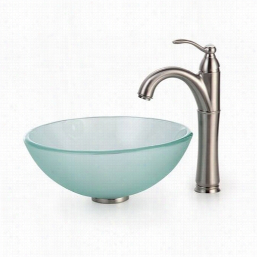 """Kraus C-gv-101fr-14-12mm-1005sn 14"""""""" Frosted Glass Vesssel Sink And Riviera Fwucet In Stain Nickel"""