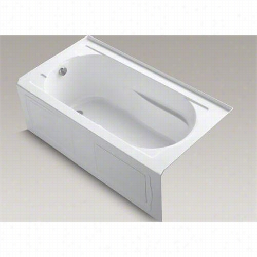 "Kohler K-1357-glaw Devonshire 60"""" X 32"""" Three Wakl Alcov Ebath With Integral Apron, Tile Flange, Lefft Hand Drain And Bask Heated Surface"