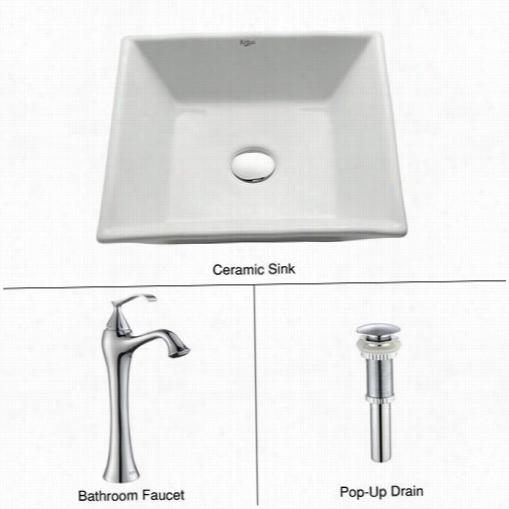 Kraus C-kcv-125-1500c0h White Square Ceramic Sink And Venus Faucet In Chrome