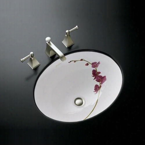 "Kohler K-14218-ly Soliloquy Design On Caxton Vitreous China 17&qu T;"" X 14"""" Undermounto Val Bathroom Sink With Clamp Assembly"