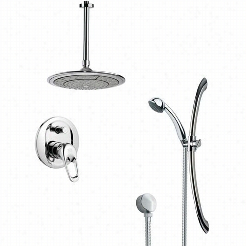 "Remer By Nameek's Sfr7000 Rendino Sleek  Round Rain Shower Faucet Set In Chrome With 27-5 / 9""""h Shower Slidebar"