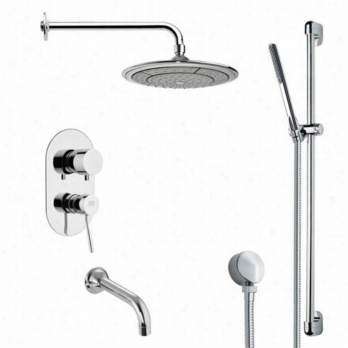"Remer By  Nameek's Tsr9041 Galiano Modern Rainn Shower System In Chrrome With  37""""h Shower Slidebar"