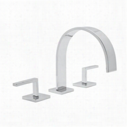 """Rohl Wa106l-apc-2 Undulation 3 Hole Deck Mounted  """"""""c&qu0t;"""" Spout Widespread Lavatory Faucet With Lever Handle N Polished Chrome"""