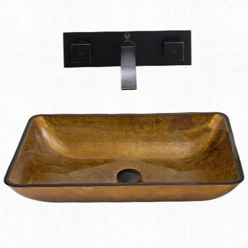 Vigo Vgt358 Rectangular Copper Glass Vessel Sink Anf Titus Wall Mount Faucet Set In Antique Rubbed Bronze
