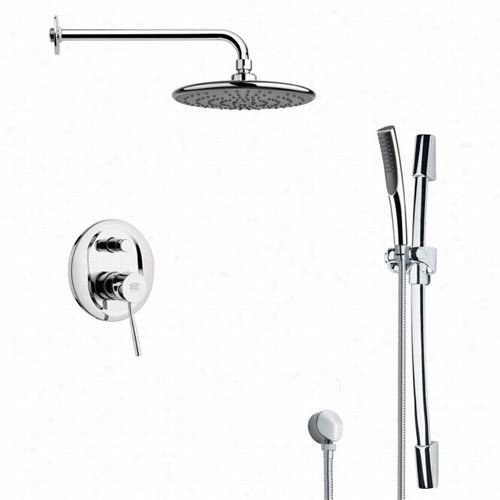 """Remer By Nameek's Sfr7158 Rendino Round Sleek Rain Shower Faucet In Chrome With Handheld Shower And 7-7/8""""""""w Diverter"""