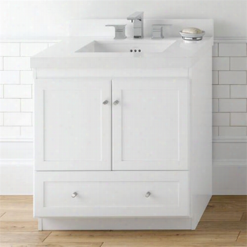 "Ronbow W080830-3 Shaker 30""""vanity Cabinet With 2 Wood Doors And Bottom Drawer In White"