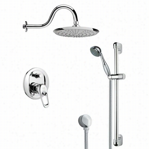 "Remer By Ameek's Sfr7078 Rencino Sleek Rain Sh Ower Faucet In Chrome Withh 23-5/8""""h Shower Slidebar"