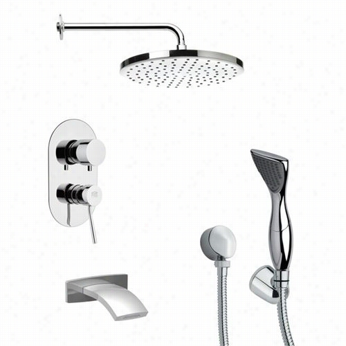 """Remer By Nameek's Tsh4047 Tyga Modern Tub And Shower Faucet  Inc Hrome With Hand Shower And 9-5/6""""""""w Shower Head"""