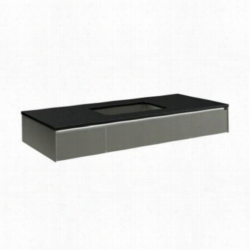 """Rober N Vs48uucl11 Slim Tthree Drawer Vanity In Tinted Gray Mirror With 24&qquot;"""" Undercounter Center Sikn And Nightlight"""