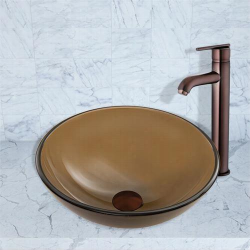 Vigo Vgt866 Sheer Sepia Frost Glass Vesse Snik And Seville Faucet Set In Oil Rubbed Bronze