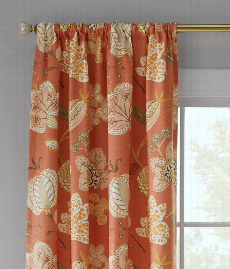 "Langley Floral Lined Rod Pocket Curtai Ns Pair - Sunset - 84"""" L"