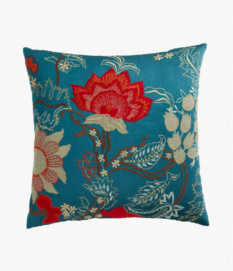 "Stockton Embroidered Pillow - Blue - 22"""" Square"