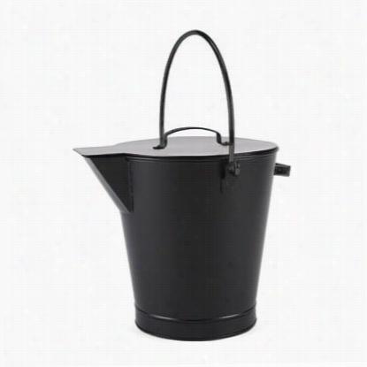 Achla Designs Ash-01 Al L Black Ash Bucket In Black Powder Coated
