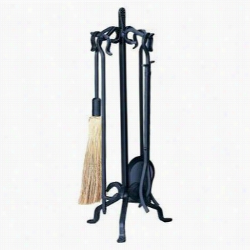 Uniflame F-1155 5 Piece Olde World Iron Heacy Fireset  With Bend Hand Les