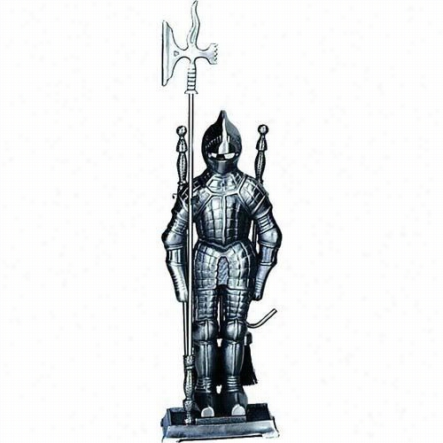 "Uniflame F-7520 29""""h 4 Pieces Mini  Soldier Fireset In Triplr Plated Pewter"