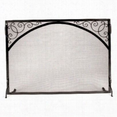 "Minuteman Gs-3830 38"""" Sterling Fire Screen Scroll And Arch In Graph1te"