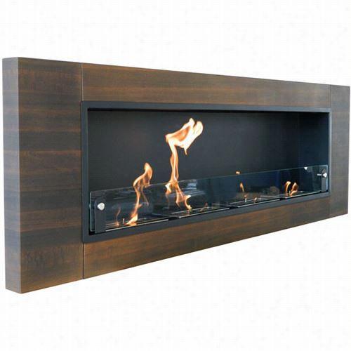Nu-flame Nf-w4fiq Fin Estra Quattro Wall Mounted Fireplace In Dark Walnut