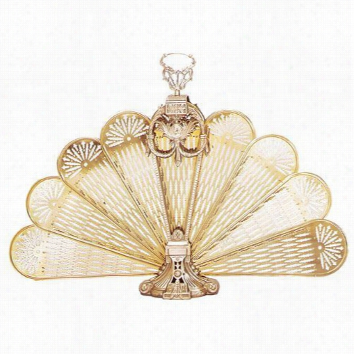 "Unif1ame S-2091 27""""h Medium Ornate Fan Fiteppace Screen In Polished Brass"