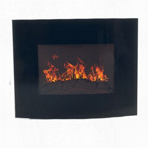 Tradmark Ifreplaces 80-ef455s Curved Glass Electric Wwall Mount Fireplace In Black With Rmeote
