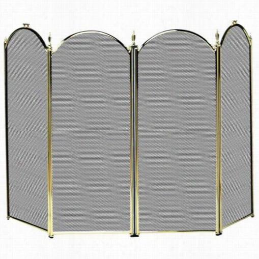 "Uniflame 4s1010pb 32""""h 4 Fold Screen In Polishd Brass"