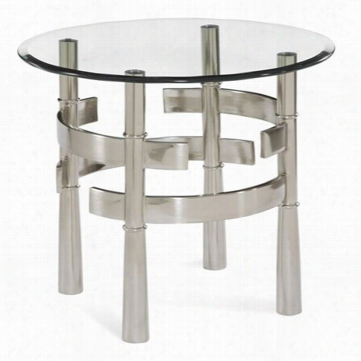 Bassett Mirror 2924-220b-tec Contour Round End Table In Brushed Nickel