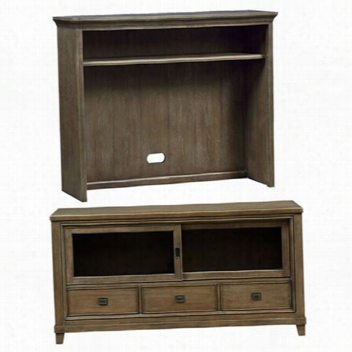 "Hammary 488- 585-488-568  Park Studio 66"""" Entertainment Center Comsole And Hutch In Quarteredo Ak And Ash Burl"