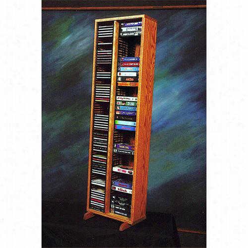 The Wood Shed 211-4cd-vhs Solid Oak Tower For Cd's And Vhs Tapes(individual Locking Slots)