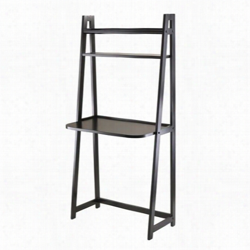 Winsome 20530 Adam A-frame Desk With 2 Shelves In  Black