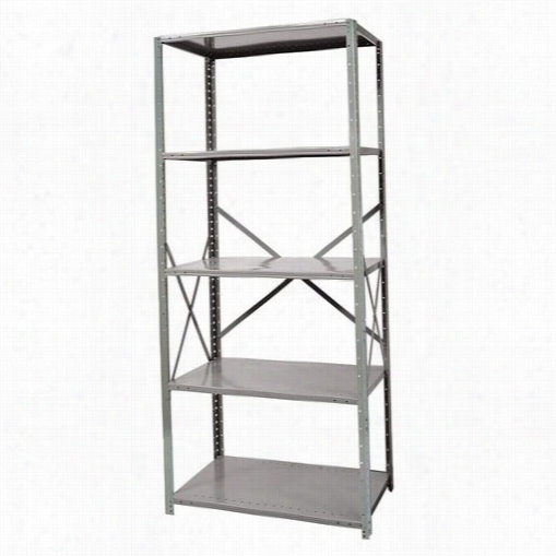 "Hallowell F7510-18hg 36""""w X 18""""d X 87&qut;""h  Adjustable Hselves Stand Alone Unit Oppen Style With Sway Braces Hi-tech Fre Standing Shelving In Gray"