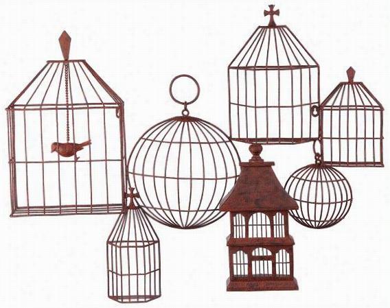 """Birdcages Wall Plaqeu - 29h X 34.5w X 4""""&auot;d, Pumpkin"""