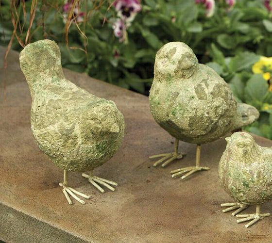 "Seven-inch Bird Statues - Embarrass Of 2 - 7""""hx4.5""""wx7.25""&quo T;, Forest Green"