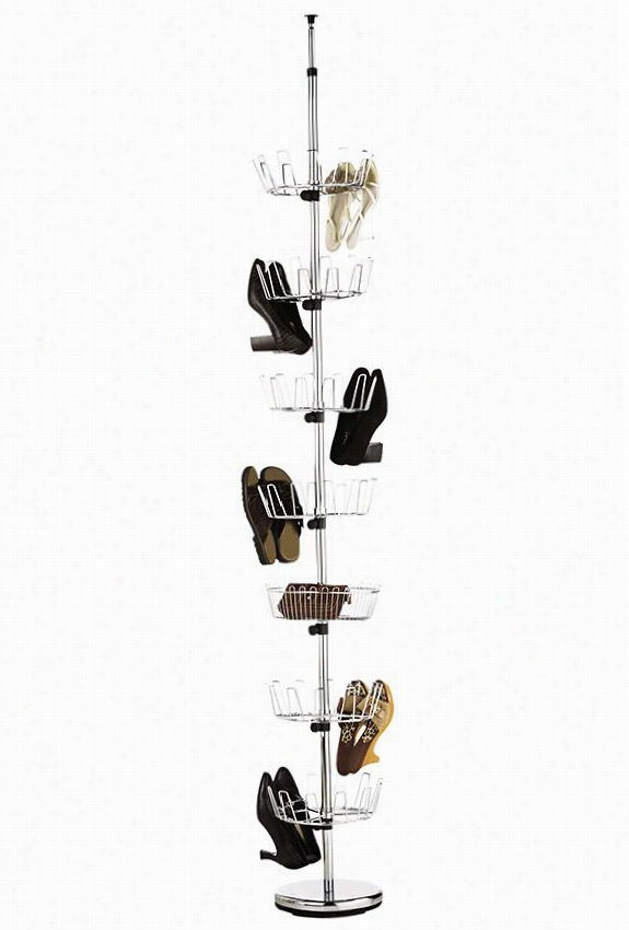 "Chrome Floor-to-ceiling Shoe Tree - 99""""hx12""""w, Silver Chrome"