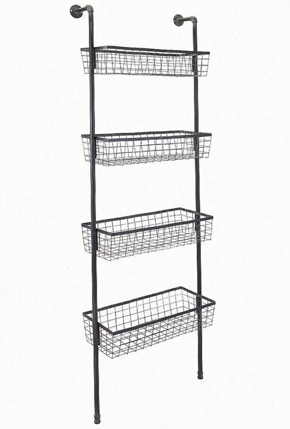 "Truman Four-basket Wall Shel F- 77""&quuot;hx26""""wx0"""", Black"