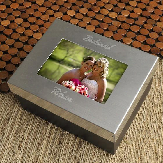 "Personalized Photo Frame Keepsake Box - 3.25""&quo;hx6.5""""wx5""""d, Steel Gray"