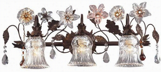 Fiore Di Vetr Ofloret Vanity - 3-light/b, Deep Rust