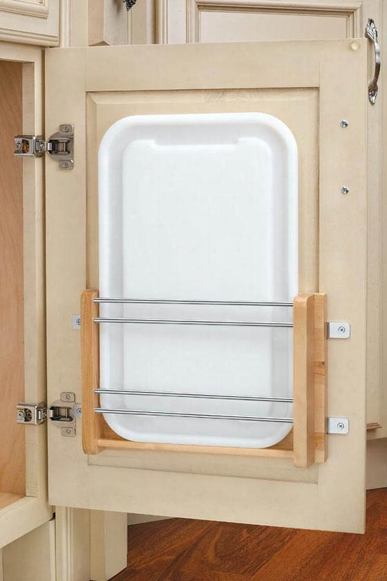 "Medium Door Mount Polymer Cuttkng Board - 16.25x12.25x2""""d, Wood/white"