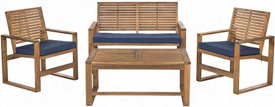 Ozark All-weathr  Outdoor Patio 4-pieece Sea Ting Set - 4-piece Set, Natural/navy