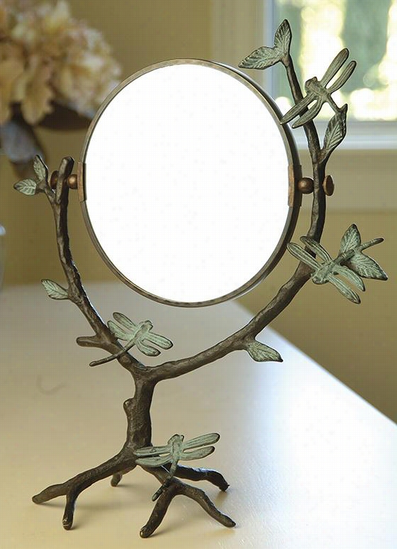 "Dragonfly On Branch Mirror - 15""""hx13""""wx6""""d, Copper Assurance"