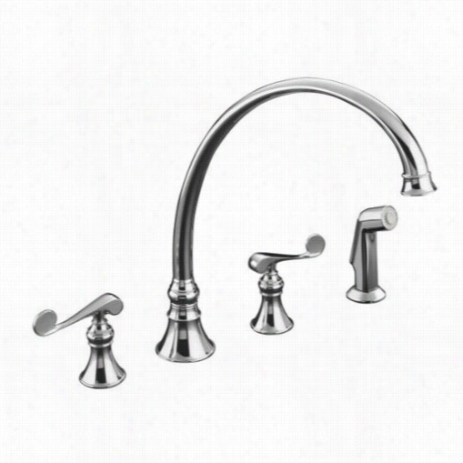 "Kohler K-166111-4 Revival 12"""" Kitchen Sink Faucet Wit H Scroll Lever Handles And Sidespray"