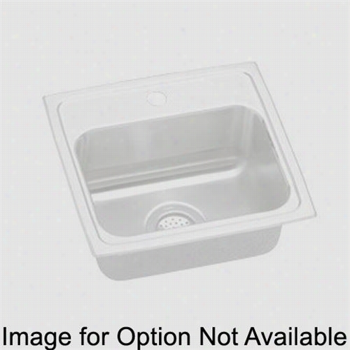 "Elkay Lrq1726mr2 Lussterto Ns 16&&qut;"" Top Mount Sole Bowl 2 Hhole Middle/right Stainless Steel Sink"
