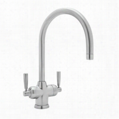 """Rohl U.1435ls-apc-2 Contemporary Mimas Two Lever Handle Kitchen Fuacet In Polkshed Chrome With """"""""c"""""""" Spout No Sidespray"""