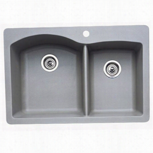 Blanco 404214 Diamond Metallic Gray 1 And 3/4 Bowl Silgranit Drop In Kitchen Sink