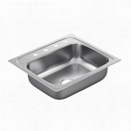 "Moen G221964 2200 Series 25""""l X 22""&quott;w X7""""d 4 Hokes Drop In Single Basin Kitchen Penetrate"