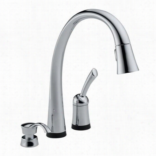 Delta 980t-sd-dst Pilar 1 Handle Pulloutt Spray Kitchen Faucet With Soap Dispenser In Chrome