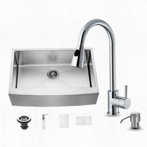 "Vigo Vg15204 All In One 33""quot; Farmhouse Stqinless Hardness  Kitchen Sink And Chrome Faucet Set"
