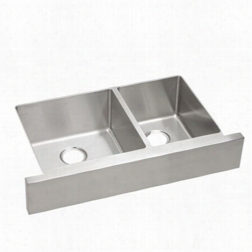 "Elkay Ectruf32179r Crosstown 32"""" Double Bowl Apron Front Kitchen Sink In Polished Satin"