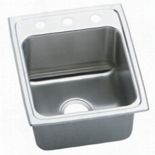 "Elkay Dlrq1722103 Lusetrtone 17"""" Top Ascend Single Bowl 3 Hole Tsainless Steel Sink"
