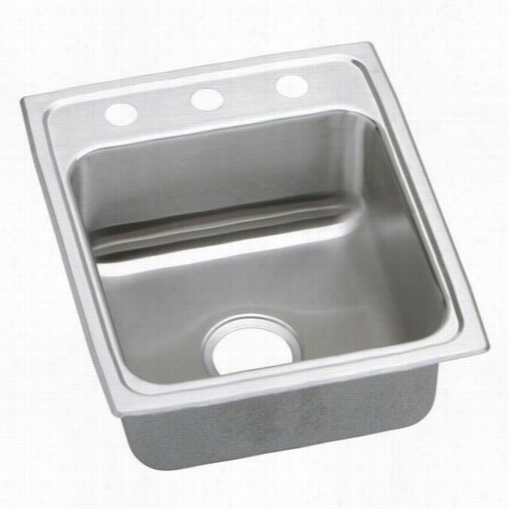 "Elkay Lrad15226533 Lustertone 6-1/2"""" Top Mount Single Bowl 3 Hole Tsainless Steel  Sink"